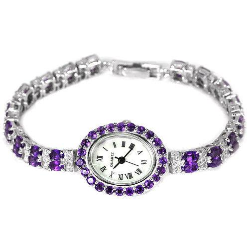 Серебряные часы 925 с натуральными аметистами .