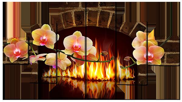 Модульная картина Цветы и Пламя