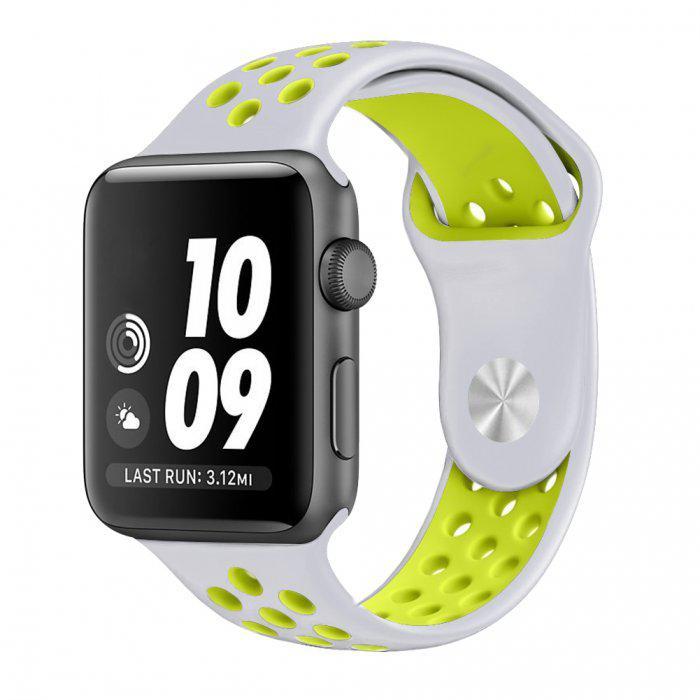 Ремешок для Apple Watch Sport Nike 38мм 42мм силиконовый серый с салатовым