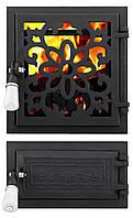 Дверца для печи и барбекю Цветок раздельный, печная дверца со стеклом