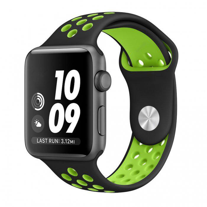 Ремешок для Apple Watch Sport Nike 42 мм спортивный силиконовый черный с зеленым