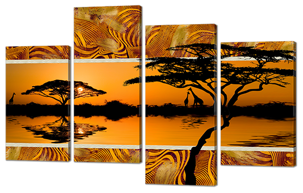 Модульная картина Вечер в Африке