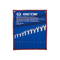 Набор комбинированных удлиненных ключе 8-24 мм (чехол из треатона) 11 предметов KING TONY 12A1MRN (Тайвань)