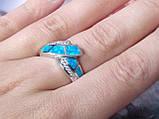 Кольцо с огненным опалом и цирконом в серебре 18,0., фото 6