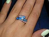 Кольцо с огненным опалом и цирконом в серебре 18,0., фото 2
