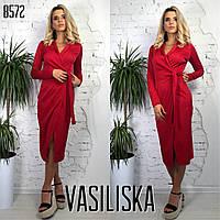 Женское стильное платье модной длины с поясом (расцветки), фото 1
