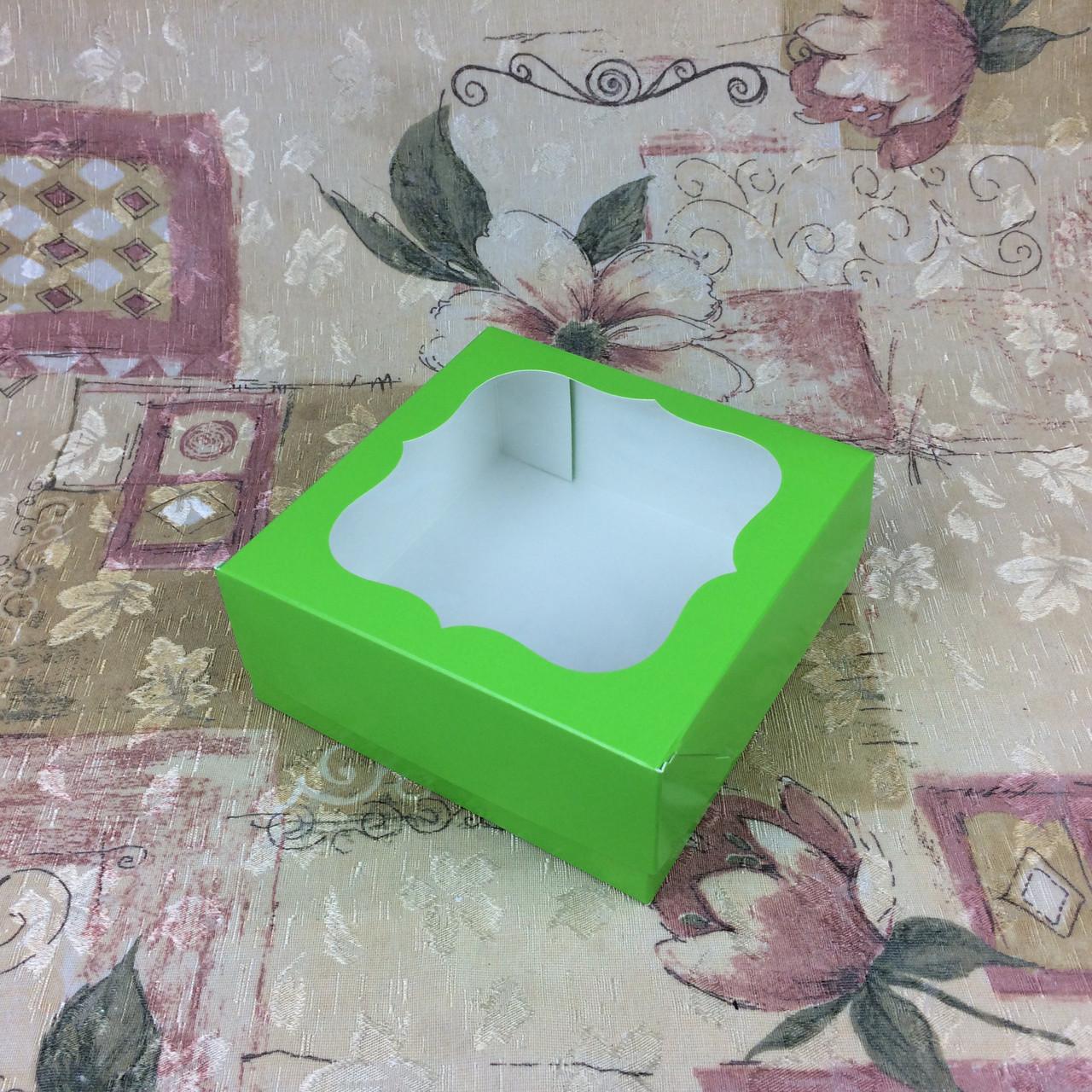 Коробка под зефир / *h=6* / 150х150х60 мм / печать-Салат / окно-обычн