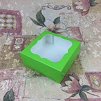 Коробка под зефир / *h=6* / 150х150х60 мм / печать-Салат / окно-обычн, фото 1