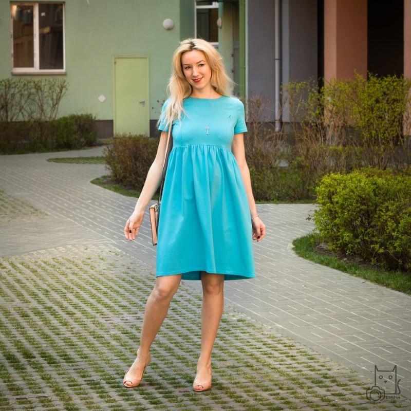 Платье летнее для беременных и кормящих мам HIGH HEELS MOM (голубой, размер S/M)