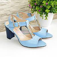 Женские кожаные классические босоножки на устойчивом каблуке, цвет голубой., фото 1