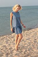 Платье летнее с оборкой для беременных и кормящих мам HIGH HEELS MOM (синий, размер S/M)