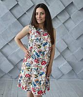 Платье летнее Цветы для беременных и кормящих мам белое HIGH HEELS MOM, размер S/M