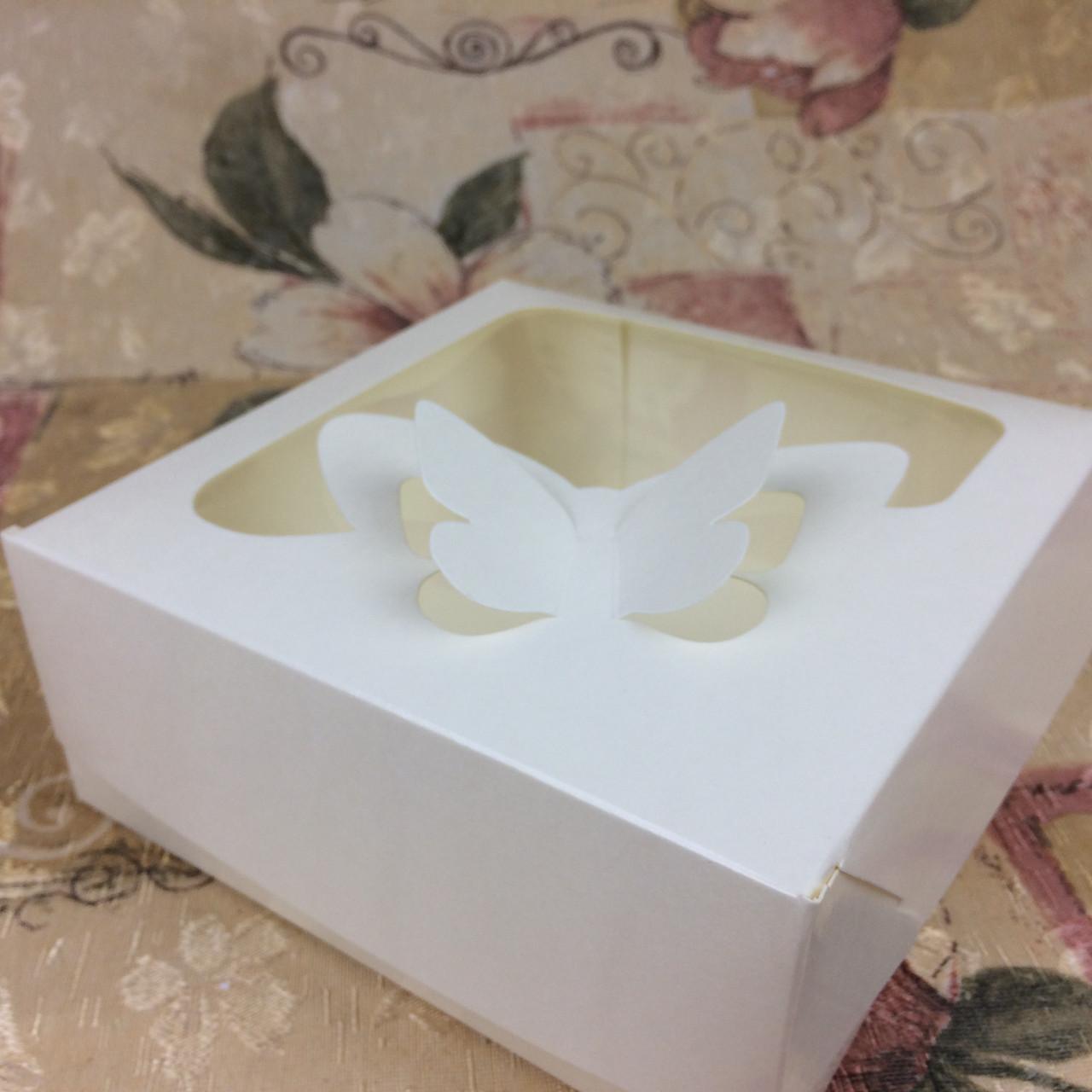 Коробка под зефир / *h=6* / 150х150х60 мм / Молочн / окно-Бабочка