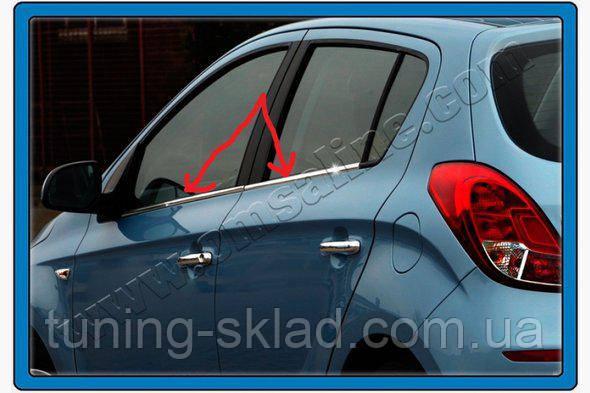 Хром нижние молдинги стекол Hyundai I-20 2012-2014 (Хюндай)