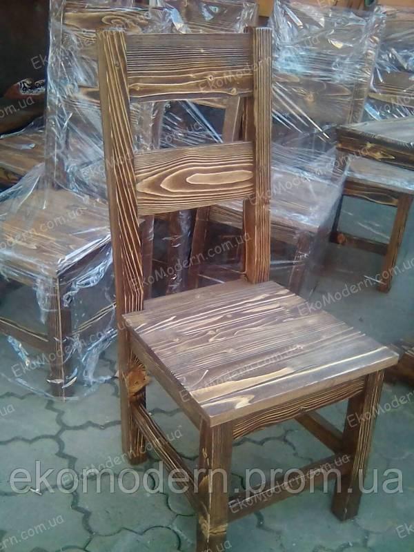 Стул деревянный состаренный ДУОС для пивного бара, паба, беседки и бани