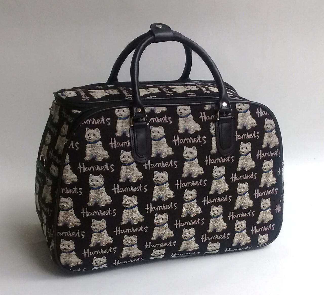 6235adca57cb Сумка дорожная тканевая ручная кладь черная гобелен с собачками - 27 л -  Чемоданчик в Закарпатской