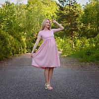 Платье с завышенной талией для беременных и кормящих мам HIGH HEELS MOM (розовый, размер S/M), фото 1