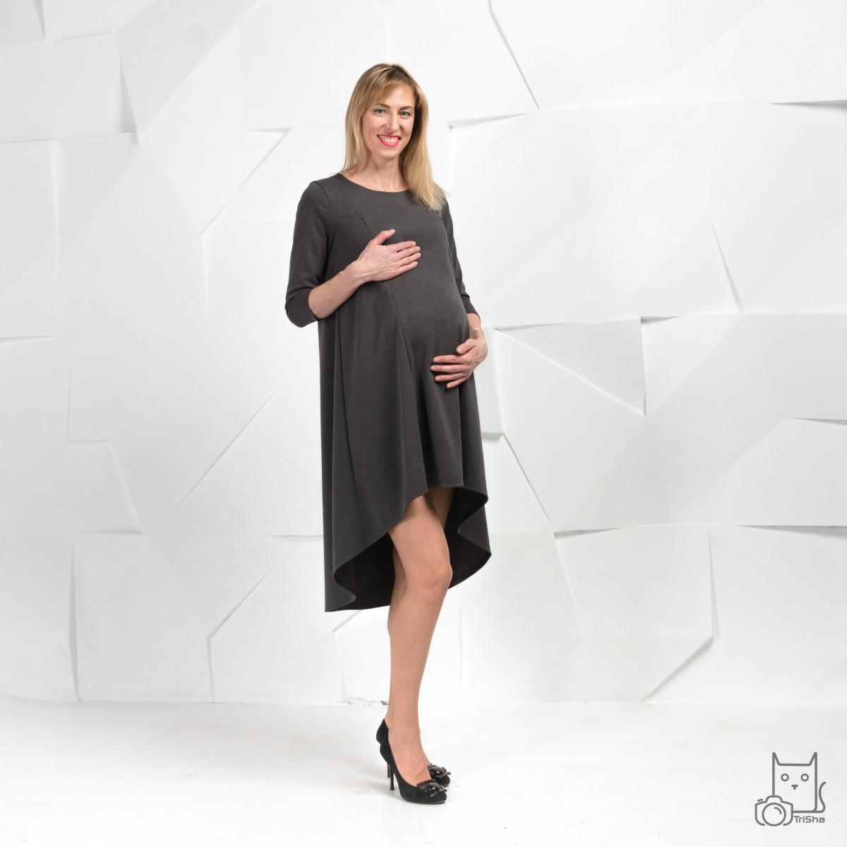 Платье для беременных и кормящих HIGH HEELS MOM свободное серое