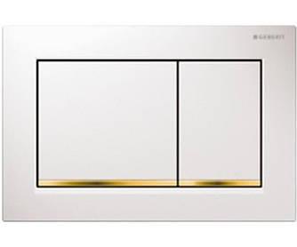 Geberit Sigma30 Смывная клавиша, двойной смыв, белый/позолота/белый