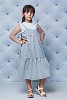 Сарафан для девочки удлиненный св-серый, фото 1