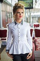 Рубашка с баской в белом цвете, фото 1