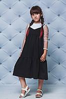 Сарафан для девочки удлиненный черный, фото 1