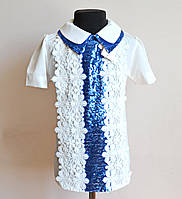Нарядная школьная блузка с пайетками на девочку 5-10лет, фото 1