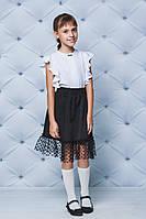Юбка школьная с сеточкой черная, фото 1