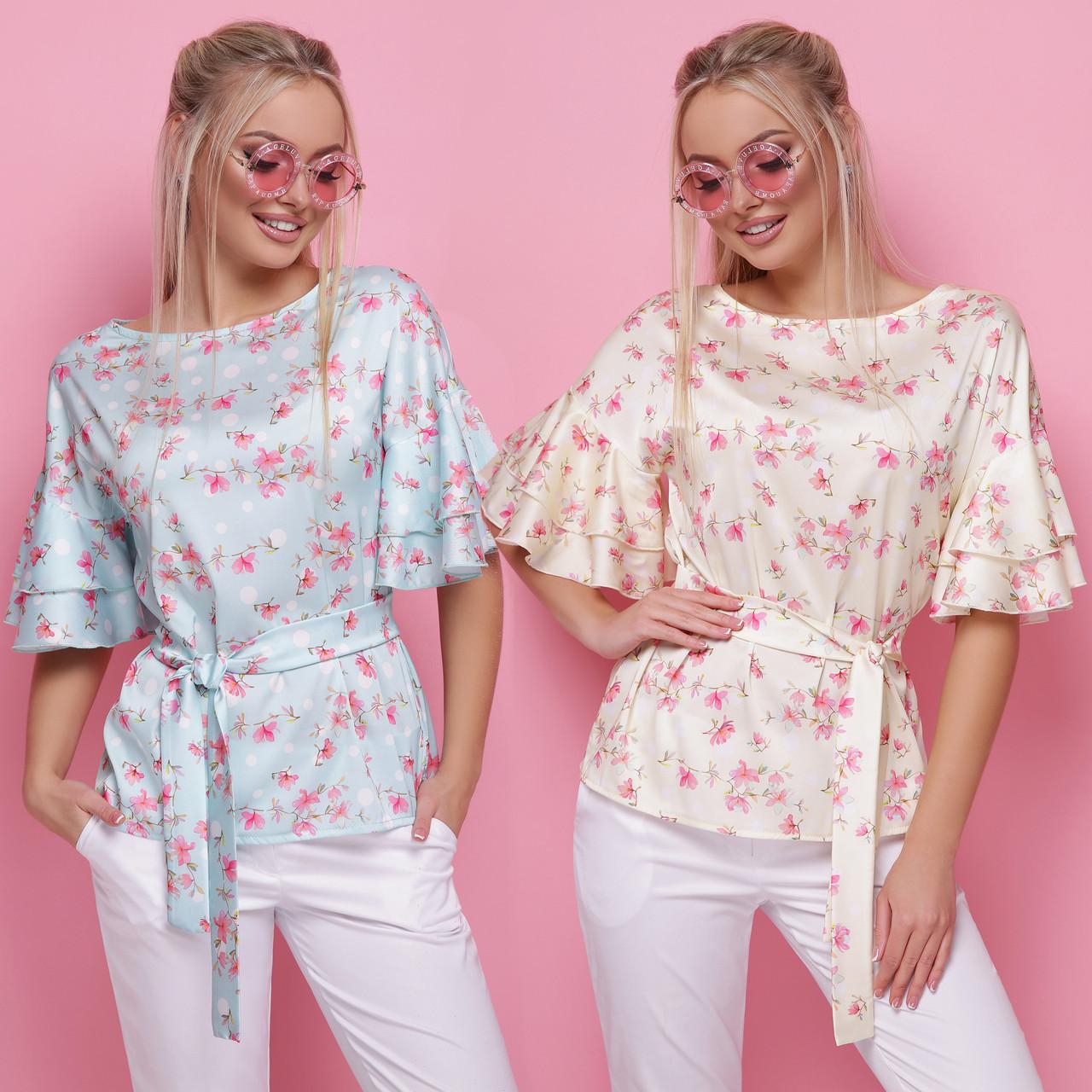 402f8113c9a08 Купить Женская шелковая блузка прямого кроя с воланами на рукавах и ...