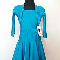Бейсик рейтинговое платье  на 7-8 лет бирюза  (съёмная юбка)