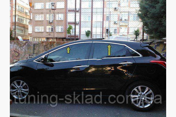 Хром верхняя окантовка стекол (HB, нерж) Hyundai I-30 2012-2017 (Хюндай)