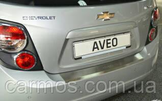 Накладка на задний бампер Шевроле Авео (Chevrolet Aveo (2012-  ) SD, с загибом