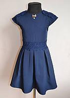Школьное детское платье для девочек с кружевом синее