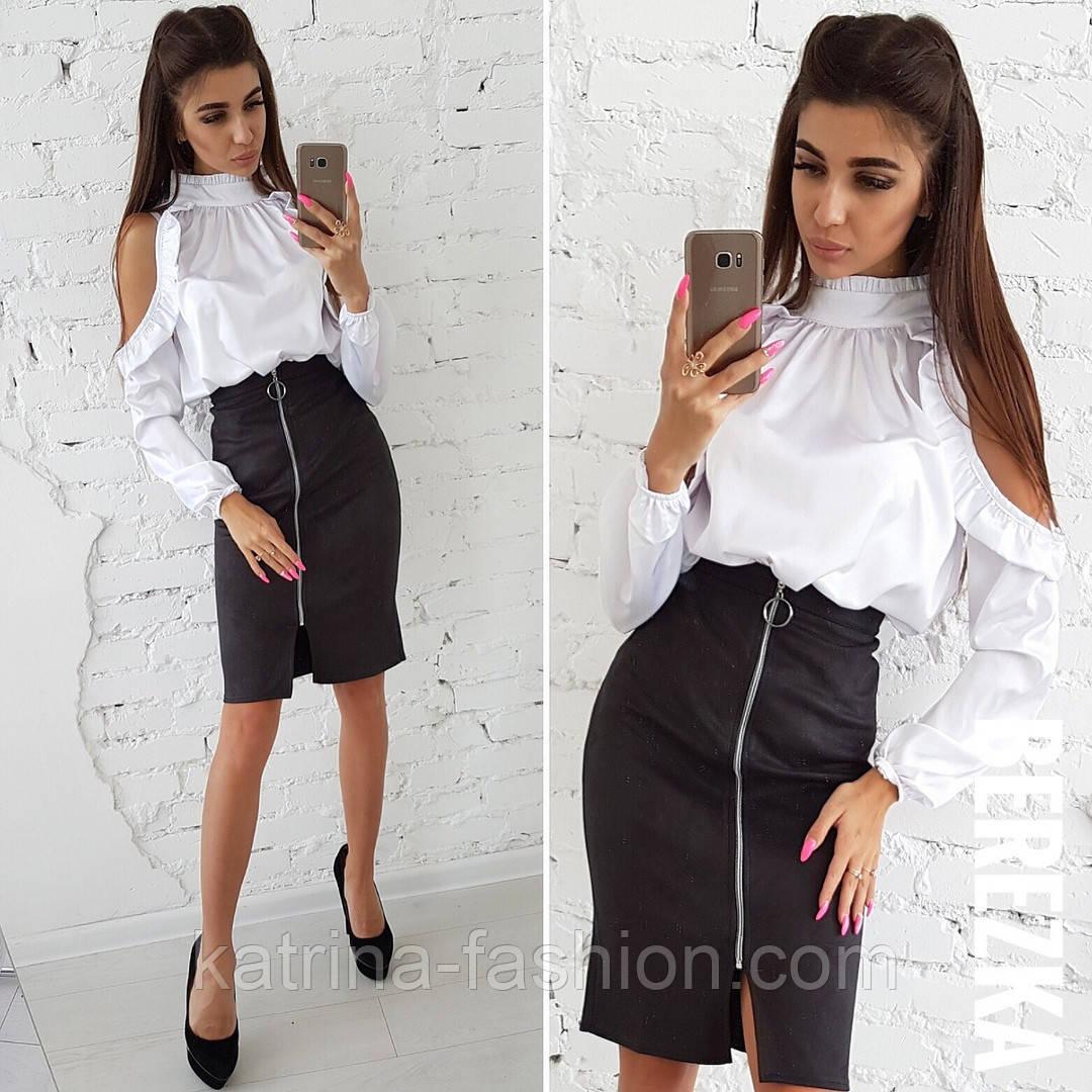 a6198c29827 Женский костюм  шелковая блуза-стойка и юбка-карандаш с молнией ...