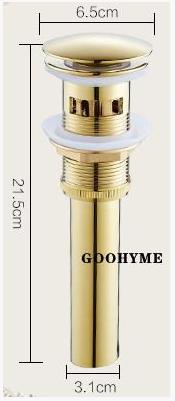 Донный клапан для умывальника в цвете золота   7-015, фото 1