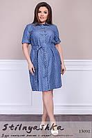 Легкое платье-рубашка из джинса для полных соты, фото 1