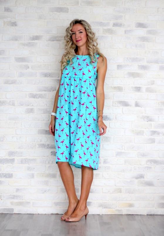 Сарафан Фламинго для беременных и кормящих мам HIGH HEELS MOM (голубой, размер S)