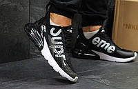 Кроссовки мужские Nike Air Max 270 Supreme  повседневные удобные  для спортзала из сеточки (черные), ТОП-репли, фото 1