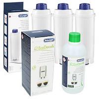 Фильтр-картридж для воды DeLonghi DLS C002 3шт + очиститель EcoDecalk
