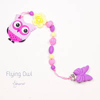 Силиконовая игрушка-грызунок на держателе Flying Owl BABY MILK TEETH
