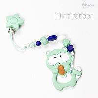 Силиконовая игрушка-грызунок на держателе Mint racoon BABY MILK TEETH