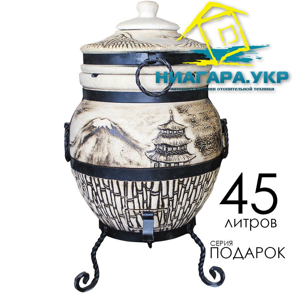 Тандыр Теплота 1 Подарок с механическим держателем крышки, дизайн Япошка