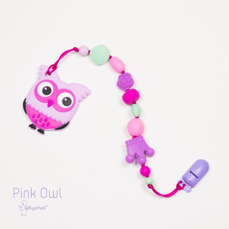 Грызунок из пищевого силикона Pink Owl BABY MILK TEETH