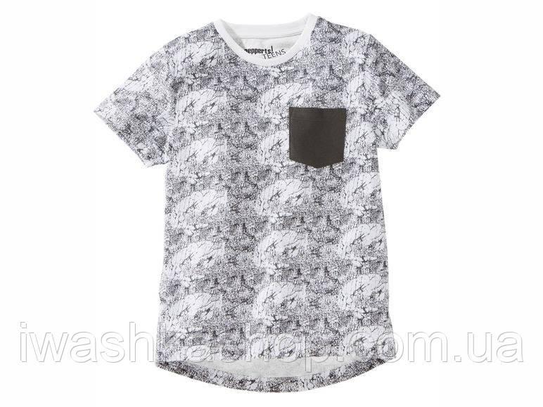 Белая футболка для мальчика 10 - 12 лет, размер 146 - 152, Pepperts, Германия