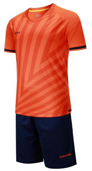 Детская футбольная форма Europaw (коралово-темно синяя) 016