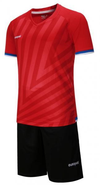 Детская футбольная форма Europaw (красно-черная) 016