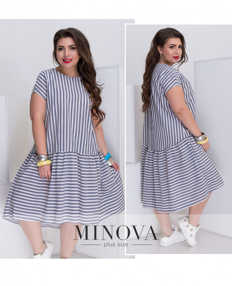 Платье женское лён большой размер 50-52 цвет синий