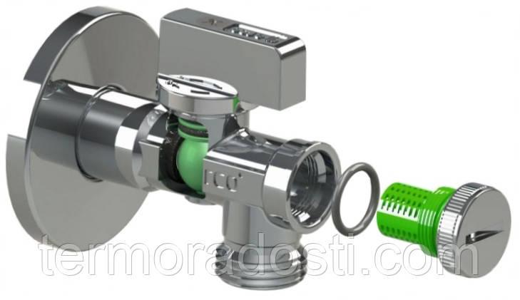 Приборный кран с фильтром ARCO 1/2х3/4 (угловой/шаровый) без цанги