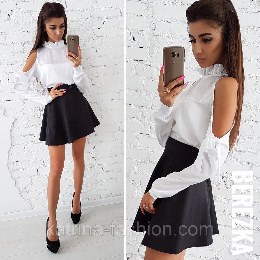 bd8b8a19fae Женский черно-белый костюм  белая блуза-стойка с оголенными плечами и  черная юбка-солнце