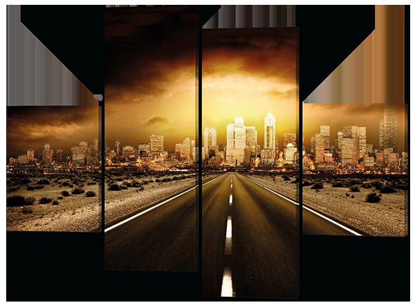 Картина модульная  Дорога в город